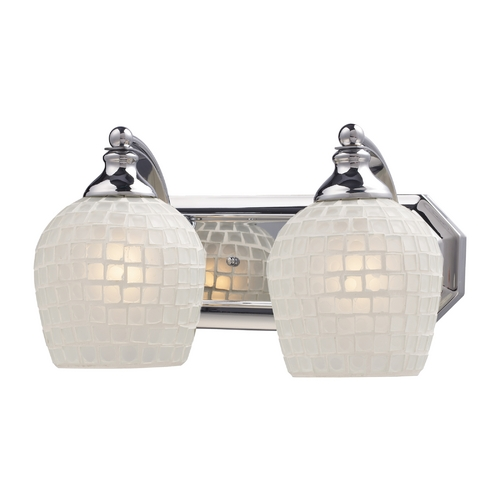 Elk Lighting Bathroom Light with Art Glass in Polished Chrome Finish 570-2C-WHT