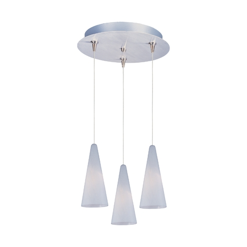 ET2 Lighting Modern Low Voltage Multi-Light Pendant Light with White Glass and 3-Lights E94628-101SN