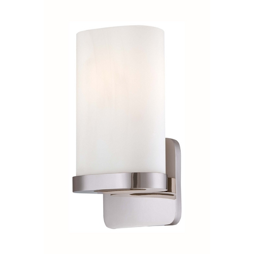 George Kovacs Lighting Modern Sconce Wall Light with White Glass in Polished Nickel Finish P1706-613