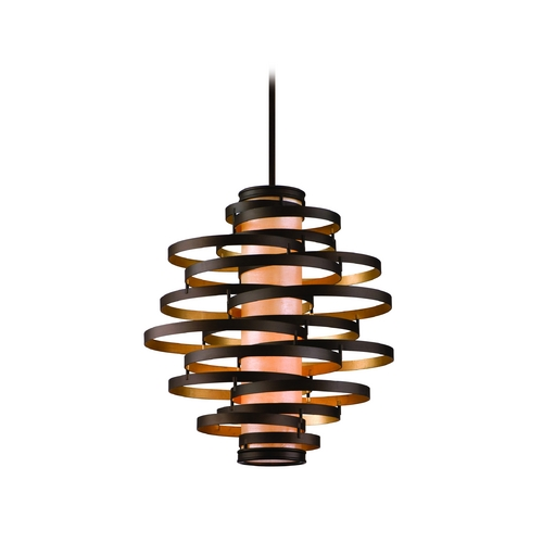 Corbett Lighting Modern Pendant Light in Bronze / Gold Leaf Finish 113-44-F