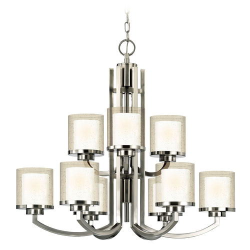 Dolan Designs Lighting Modern Two-Tier Chandelier with Clear Seedy and White Glass Shades 2952-09