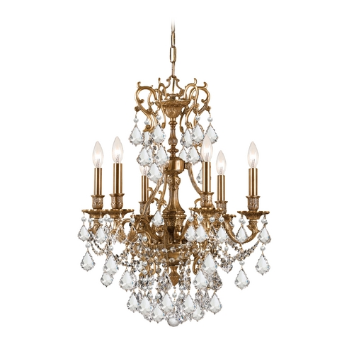Crystorama Lighting Crystal Mini-Chandelier in Aged Brass Finish 5146-AG-CL-S