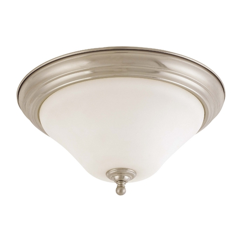 Nuvo Lighting Flushmount Light with White Glass in Brushed Nickel Finish 60/1826
