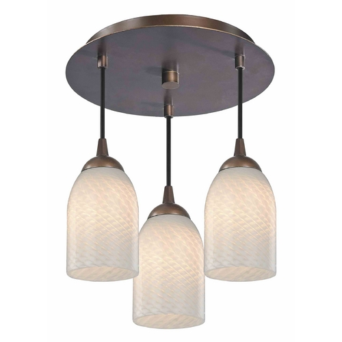 Design Classics Lighting 3-Light Semi-Flush Ceiling Lightt with White Art Glass - Bronze Finish 579-220 GL1020D
