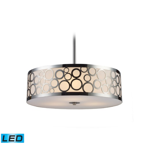 Elk Lighting Elk Lighting Retrovia Polished Nickel LED Pendant Light with Drum Shade 31025/3-LED