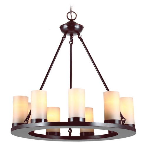 Sea Gull Lighting Modern Chandelier with Beige / Cream Glass in Burnt Sienna Finish 31587-710