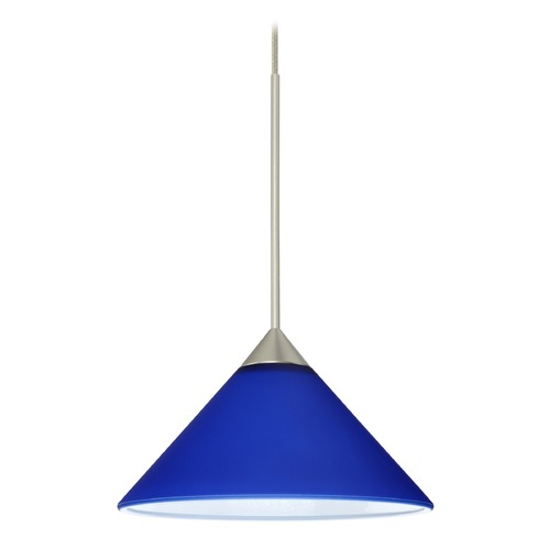 Besa Lighting Besa Lighting Kona Satin Nickel Mini-Pendant Light with Conical Shade 1XT-117687-SN