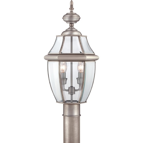Quoizel Lighting Post Light with Clear Glass in Pewter Finish NY9042P