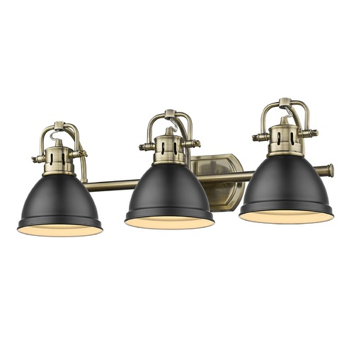 Golden Lighting Golden Lighting Duncan Aged Brass Bathroom Light with Matte Black Shade 3602-BA3AB-BLK