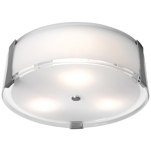 Access Lighting Modern Flushmount Light with White Glass in Brushed Steel Finish 50121-BS/OPL