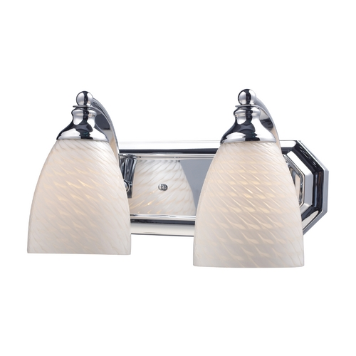 Elk Lighting Bathroom Light with Art Glass in Polished Chrome Finish 570-2C-WS