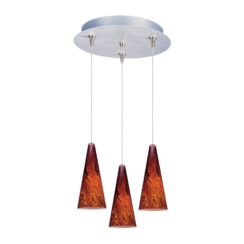 ET2 Lighting Modern Low Voltage Multi-Light Pendant Light with Amber Glass and 3-Lights E94629-102SN
