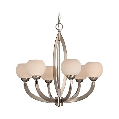 Dolan Designs Lighting Modern Chandelier with White Glass in Satin Nickel Finish 2960-09