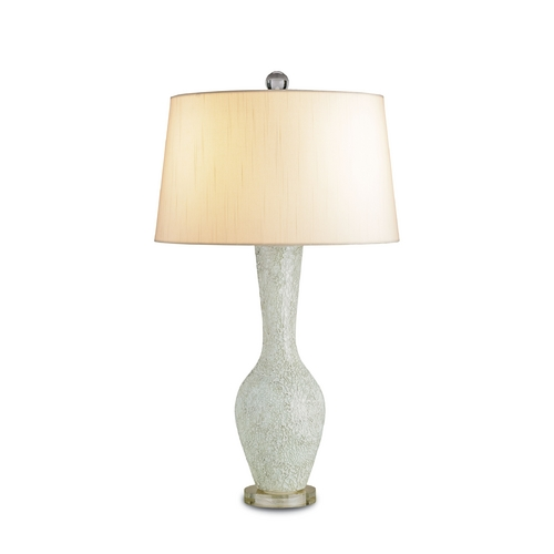 Currey and Company Lighting Table Lamp with White Shade in Celadon/clear Finish 6296