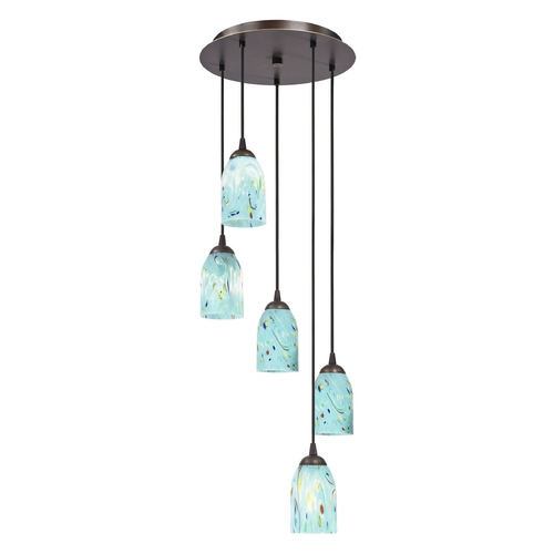 Design Classics Lighting Multi-Light Adjustable Pendant Light with Turquoise Art Glass 580-220 GL1021D