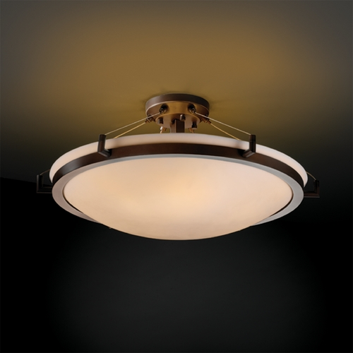 Justice Design Group Justice Design Group Porcelina Collection Semi-Flushmount Light PNA-9682-35-SMTH-DBRZ