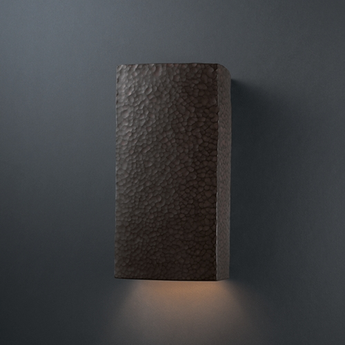 Justice Design Group Sconce Wall Light in Hammered Iron Finish CER-0950-HMIR