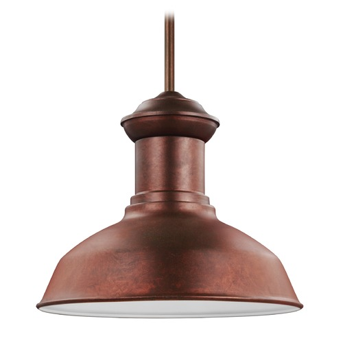 Sea Gull Lighting Sea Gull Fredricksburg Weathered Copper LED Outdoor Hanging Light 6247791S-44
