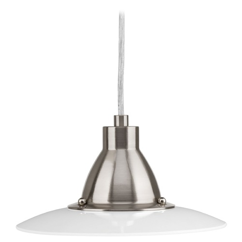 Progress Lighting Progress Lighting Avant Brushed Nickel LED Mini-Pendant Light with Conical Shade P5072-0930K9