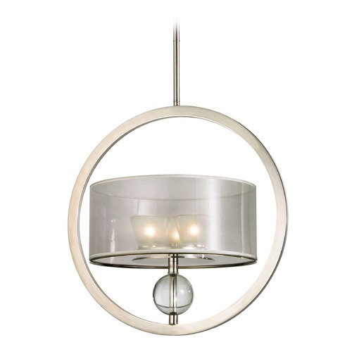 Elk Lighting Elk Lighting Corisande Polished Nickel Pendant Light with Drum Shade 31296/3