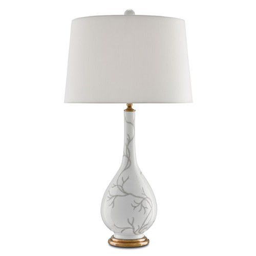 Currey and Company Lighting Currey and Company Perennial White/gray/polished Antique Brass Table Lamp with Empire Shade 6000-0008
