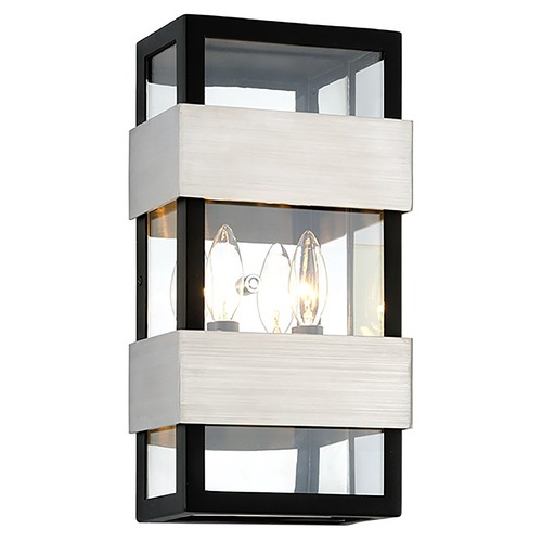 Troy Lighting Troy Lighting Dana Point Black with Brushed Stainless Outdoor Wall Light B6522