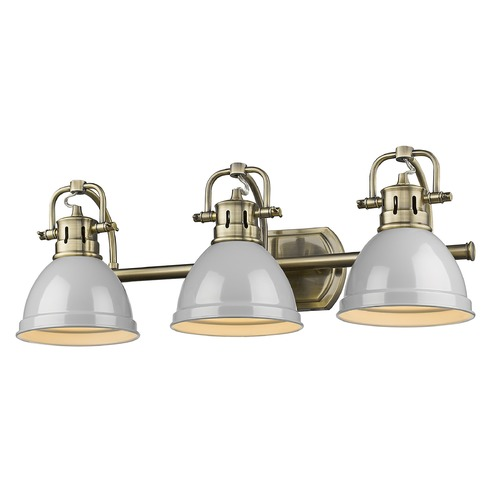 Golden Lighting Golden Lighting Duncan Aged Brass Bathroom Light with Grey Shade 3602-BA3AB-GY