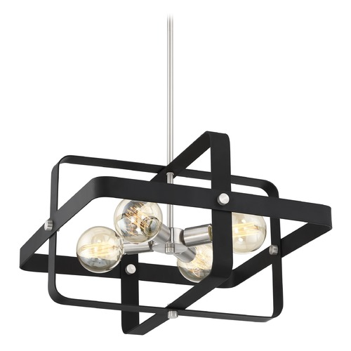 Nuvo Lighting Satco Lighting Prana Matte Black / Brushed Nickel Pendant Light 60/6622