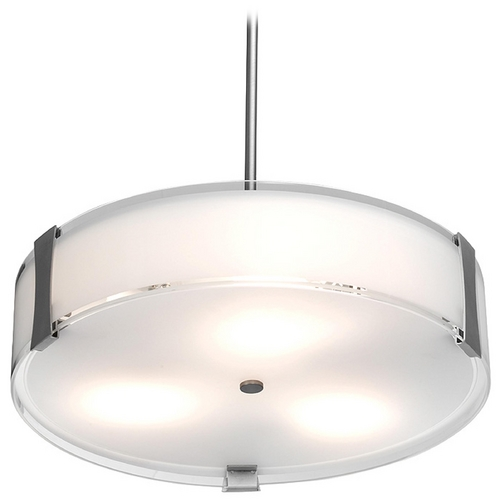 Access Lighting Modern Pendant Light with White Glass in Brushed Steel Finish 50123-BS/OPL