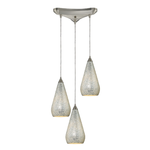 Elk Lighting Modern Multi-Light Pendant Light with Art Glass and 3-Lights 546-3SLV-CRC
