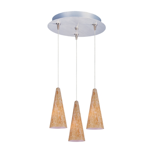 ET2 Lighting Modern Low Voltage Multi-Light Pendant Light with Orange Glass and 3-Lights E94630-103SN
