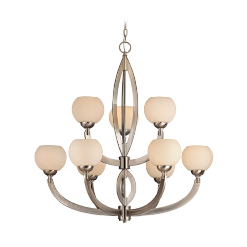 Dolan Designs Lighting Modern Chandelier with White Glass in Satin Nickel Finish 2962-09