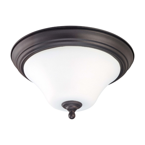 Nuvo Lighting Bronze Flushmount Ceiling Light with White Glass - 13-Inches Wide 60/1845