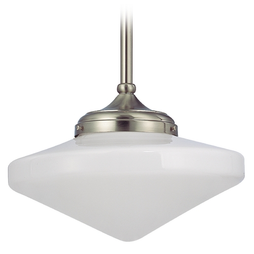 Design Classics Lighting 14-Inch Pendant Light with Schoolhouse Glass in Satin Nickel Finish FA6-09 / GE14