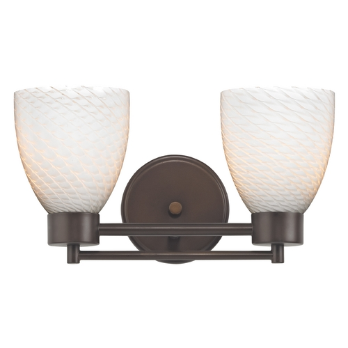 Design Classics Lighting Modern Bathroom Light with White Glass in Bronze Finish 702-220 GL1020MB