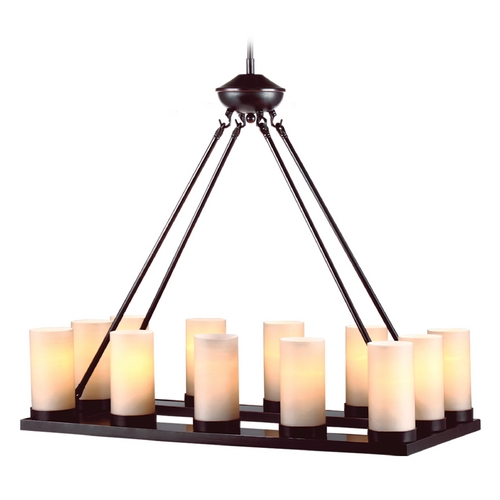 Sea Gull Lighting Modern Chandelier with Beige / Cream Glass in Burnt Sienna Finish 31588-710