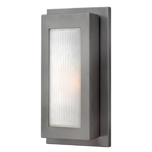 Hinkley Lighting Modern Outdoor Wall Light with White Glass in Hematite Finish 2050HE-GU24