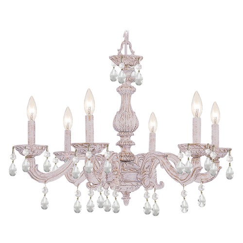 Crystorama Lighting Crystorama Lighting Paris Market Antique White Crystal Chandelier 5036-AW-CL-S