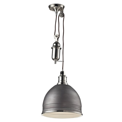 Elk Lighting Elk Lighting Carolton Weathered Zinc/polished Nickel Pendant Light with Bowl / Dome Shade 66883/1
