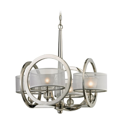 Elk Lighting Elk Lighting Corisande Polished Nickel Pendant Light with Drum Shade 31297/4