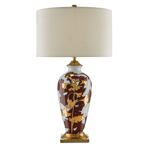 Currey and Company Lighting Currey and Company Eternity Chestnut Red/white/gold/antique Brass Table Lamp with Drum Shade 6000-0009