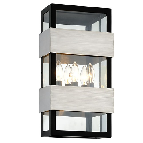 Troy Lighting Troy Lighting Dana Point Black with Brushed Stainless Outdoor Wall Light B6523