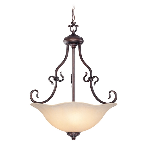 Lite Source Lighting Pendant Light with Amber Glass in Bronze Finish C7955