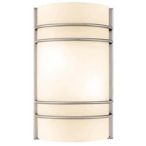 Access Lighting Modern Sconce Wall Light with White Glass in Brushed Steel Finish 20416-BS/OPL