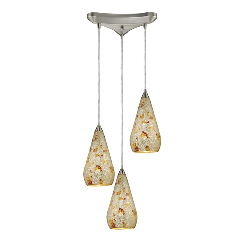Elk Lighting Modern Multi-Light Pendant Light with Art Glass and 3-Lights 546-3SLVM-CRC