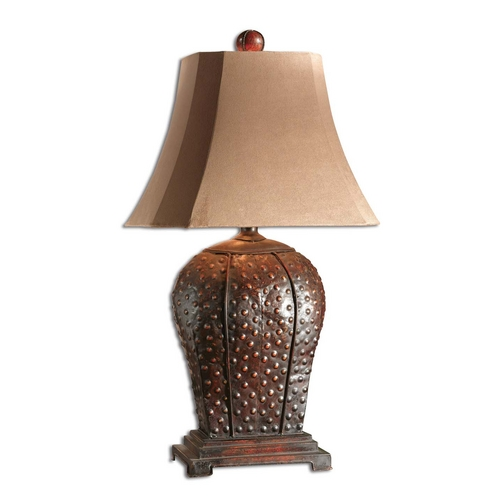 Uttermost Lighting Table Lamp with Brown Shade in Mahogany Finish 27511