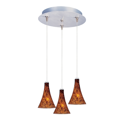 ET2 Lighting Modern Low Voltage Multi-Light Pendant Light with Amber Glass and 3-Lights E94631-104SN