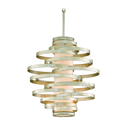 Corbett Lighting Modern Pendant Light with Beige / Cream Glass in Modern Silver Finish 128-42-F