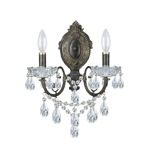 Crystorama Lighting Crystal Sconce Wall Light in English Bronze Finish 5192-EB-CL-S