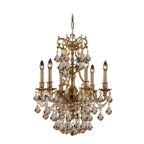 Crystorama Lighting Crystal Mini-Chandelier in Aged Brass Finish 5146-AG-GTS